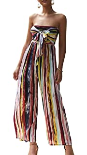 CRYYU Women Stripe Hollow Out Wide Leg Strapless Halter Jumpsuit Romper