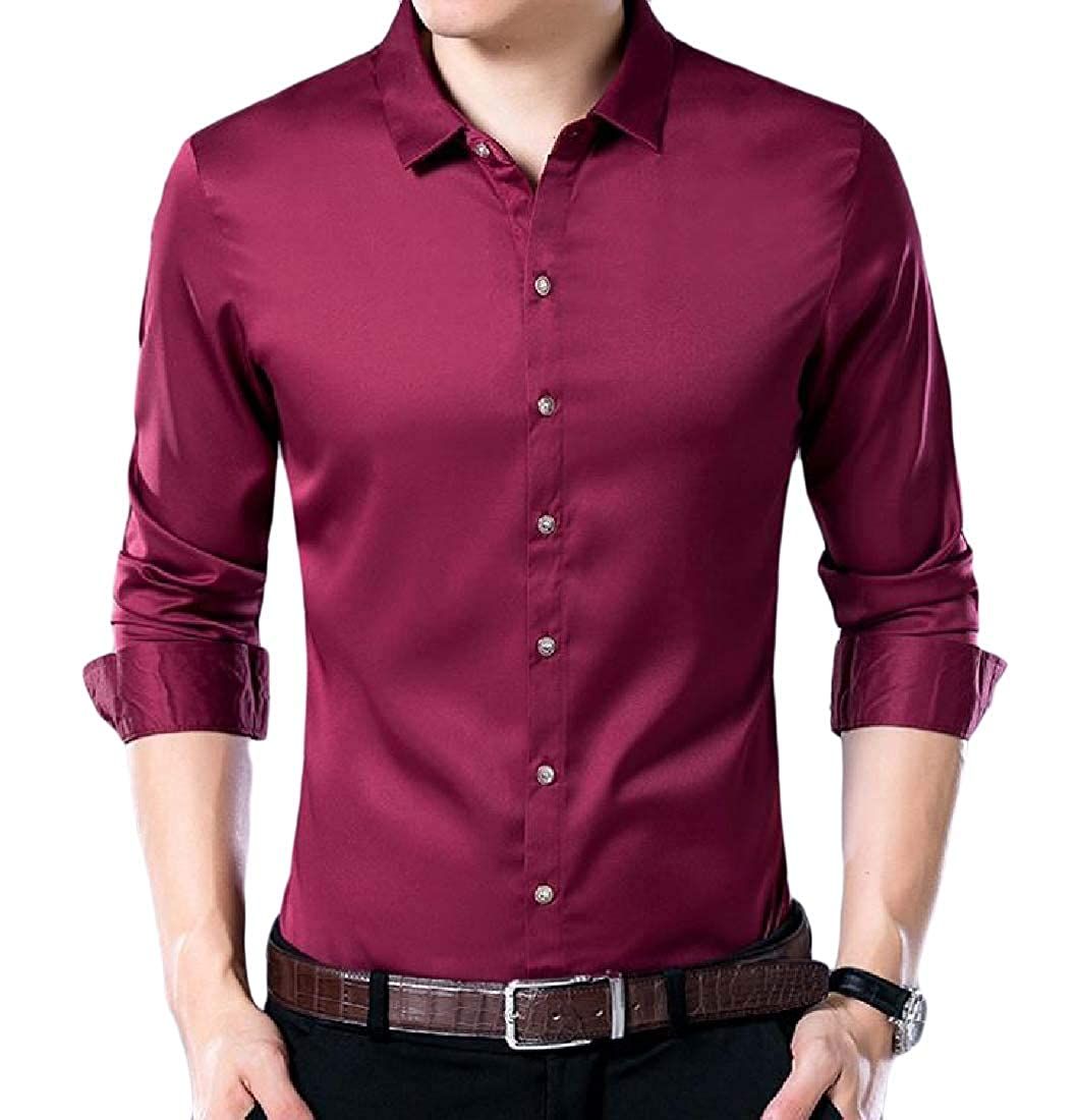 Vska Mens Buttoned Solid Autumn Long Sleeve Vogue Slim Thin Shirt