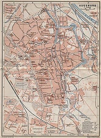 Karte Augsburg.Augsburg Antik Town City Stadtplan Bayern Karte Baedeker