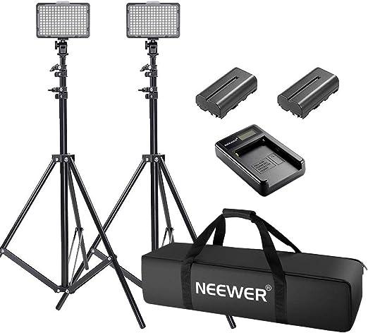Neewer 2-pieza Kit de Luz 176 LED Regulable de Cámara y Soporte para Foto Disparo Video, YouTube, Snapchat incluye: (2) Luz LED, (2) Soporte Ligero, (2) Difusor, (2) Batería , (1) Cargador