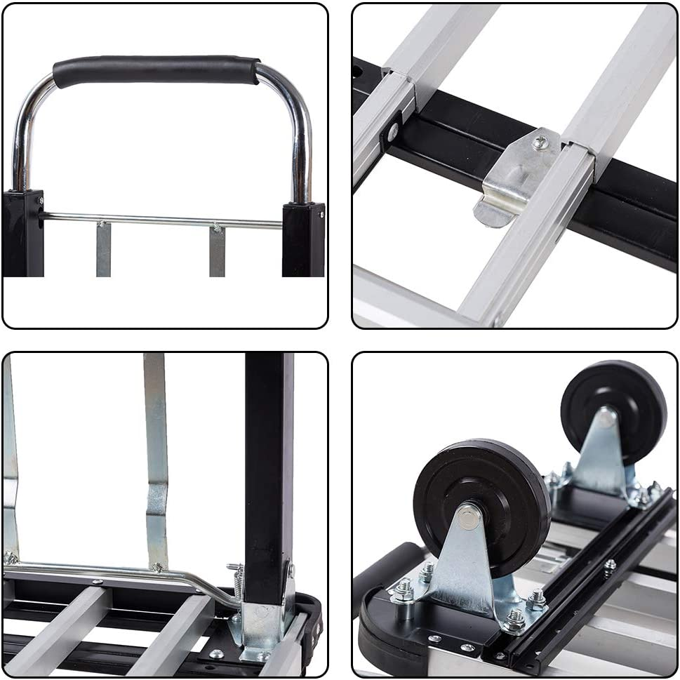 Goujxcy Hand Truck 3 in 1 Convertible Dolly Heavy Duty Folding Hand Cart,770LBS Capacity Utility Cart
