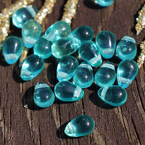 Clear Turquoise Czech Glass Teardrop Beads Drop Small 6mm x 4mm 50pcs