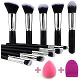 BEAKEY 10+2pcs Makeup Brush Set Professional Makeup Brushes Powder Brush Makeup kit oval Brush Set & Makeup Blender Sponges Pink Makeup tools