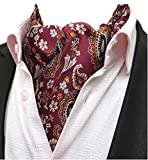 MOHSLEE Mens Red Floral Paisley Cravat Wedding Ascot Tie Scarf Pocket Square Set