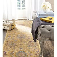 Safavieh Sevilla Collection SEVB814E Gold and Multi Silky Viscose Distressed Runner (22 x 7)