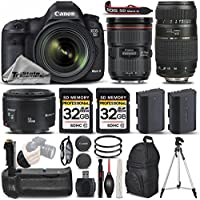 Canon EOS 5D Mark III DSLR Caemra + Canon 24-70mm f/2.8L II USM Lens + Canon 50mm 1.8 II Lens + 70-300mm + Battery Grip + Backup Battery. All Original Accessories Included - International Version