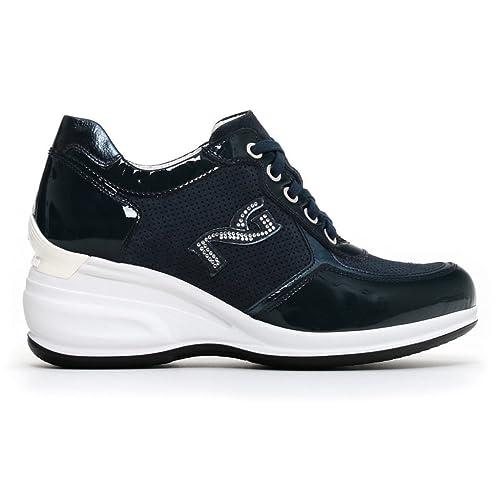 Donna Blu Pelle Giardini Amazon it Nero Scarpe P805071d Sneakers aIqtnqFw