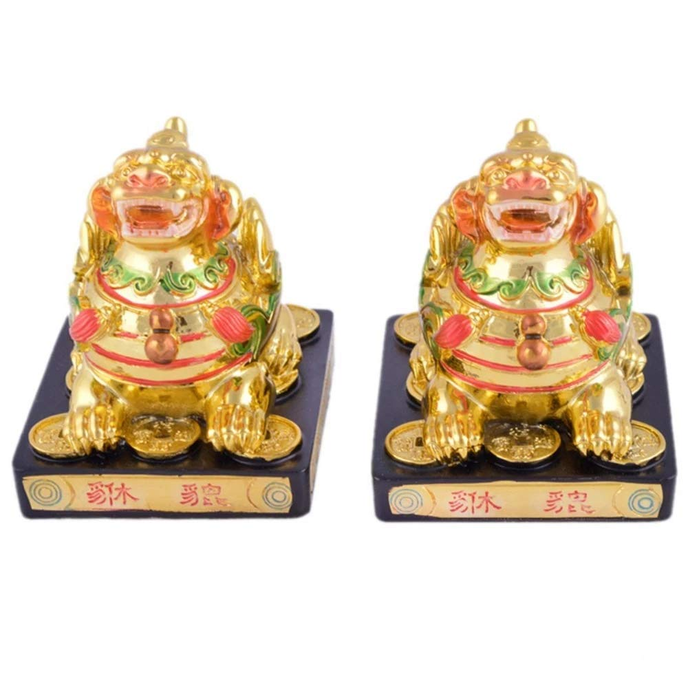Amulet789 Feng Shui Protective Golden Pair Pi Yao/Pi Xiu for Wealth