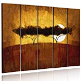 Feeby. Multipart Canvas - 5 panels - Wall Art Picture, Image Printed on Canvas, 5 parts, Type C, 150x100 cm, AFRICA, VIEW, SAVANNA, TREES, SUNRISE, YELLOW, BROWN