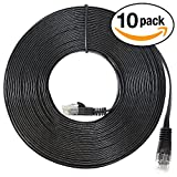 InstallerParts (10 Pack) Ethernet Cable CAT6 Cable Flat 25 FT - Black - Professional Series - 10Gigabit/Sec Network / High Speed Internet Cable, 550MHZ