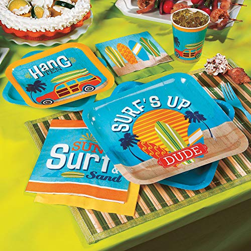 Fun Express - Surfs Up Basic Party Pack for Birthday - Party Supplies - Party Packs Kids - Kids - Basic - Birthday - 77 Pieces
