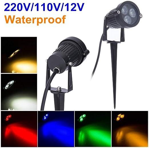 220V 110V LED jardín al aire libre del césped Luz 9W de Spike impermeable de la lámpara 12V del bulbo caliente Path Foco Verde Blanco (Emissione del colore : Red): Amazon.es: Iluminación