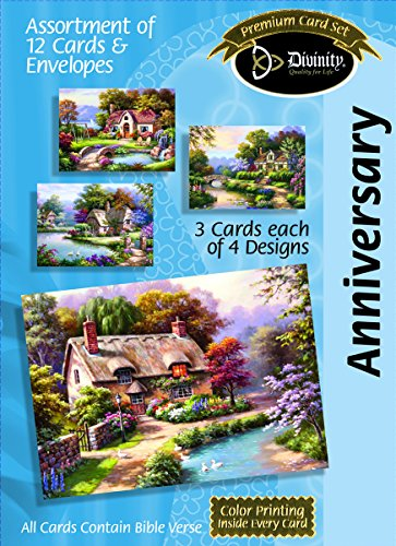 (Divinity Boutique Greeting Card Assortment: Anniversary, Cottages with Scripture (21717N))