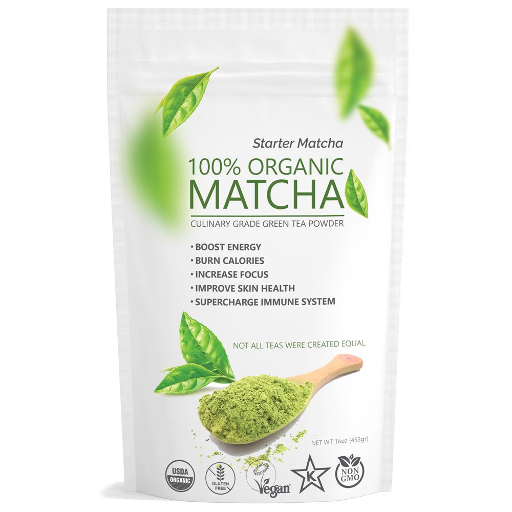 Starter Matcha (16oz/453g) USDA Organic, Non-GMO Certified, Vegan and Gluten-Free. Pure Matcha Green Tea Powder. Grassy Flavor with Mild Natural Bitterness and Autumn-Green color.