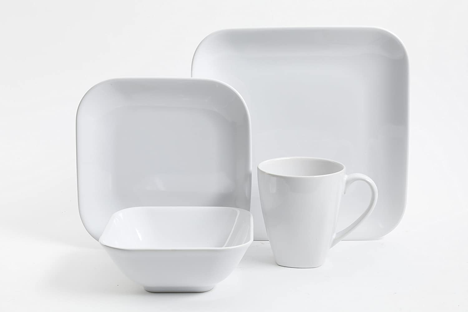 Gibson Home 99842.16rm Dance 16 Pc Dinnerware Set Soft Square White Stoneware