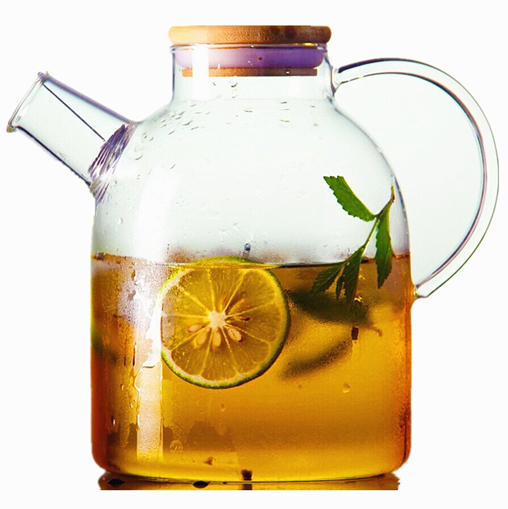 Moyishi 60oz Glass Water Pitcher with Natural Bamboo Wood Lid, Glass Water Kettle, Iced Tea Pitcher, Juice Teapot