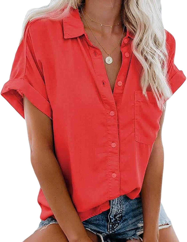 MallFancy Damen Bluse Kurzarm//Langarm Reverskragen Shirt Hemdbluse Einfarbig Knopfleiste Blusen Oberteile Tops mit Taschen