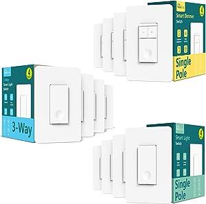 SS02 Series Bundles: Smart Single Pole On/Off Switch 4Pack+3-Way Switch 4Pack+Single Pole Dimmer Switch 4Pack