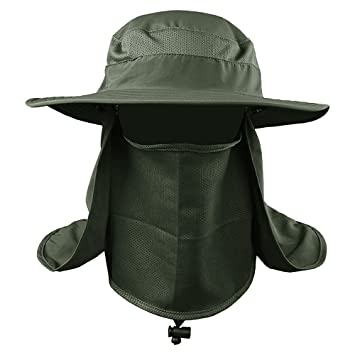 401e0f34830 MMRM Outdoor Sport Sun Shield UV Protection Hiking Fishing Hat with Neck  Face Flap Cap for Women Men (Army Green)  Amazon.in  Toys   Games