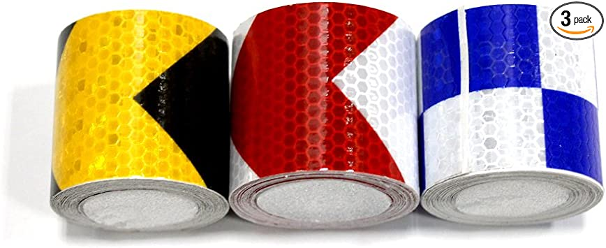 2x118 Muchkey 3Pcs 5cmx3m Honeycomb Self-Adhesive Safety refelctive Tape Warning Tape Reflector Tape Security Marking Tape Waterproof for car//trailers //truck//traffic//Construction site Gold,Red,Silver