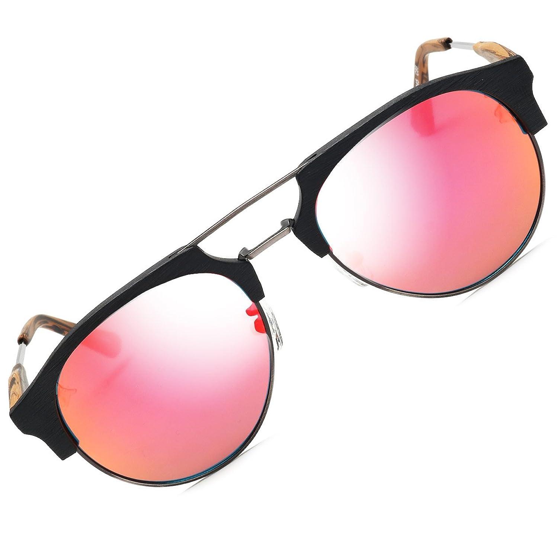 BAVIRON メンズアセテートサングラスレトロラウンド類似の木製メガネ偏光UV400 B077VK7GGJ  C86ブラック/オレンジ)