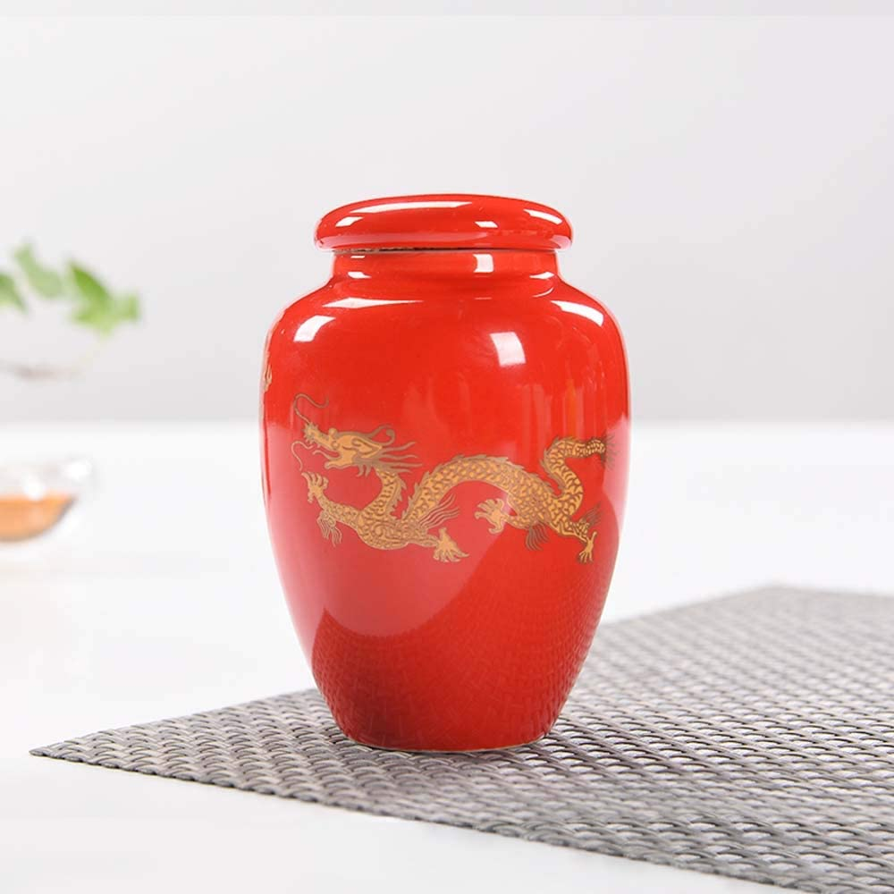 LINGS Small Human and Pets Ceramic Cremation Urns,Memorial Funeral Urn,Three Color Dragon Pattern,Red