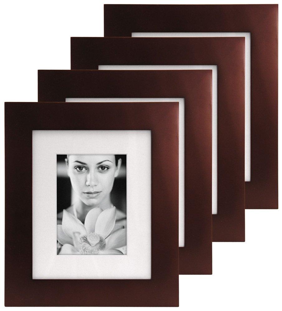 Malden International Designs Manhattan Matted Wall Picture Frame, 5-Inch by 7-Inch, Dark Walnut, 4-Pack 2079-57P4