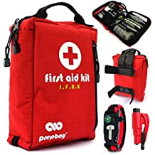 Tactical First Aid Kit - Compact Med Kit with Labeled Compartments & MOLLE Straps - Includes IFAK Medical Kit, Survival Tools & Car Emergency Gear for Vehicle, Camping, Hiking, Travel & Backpacking