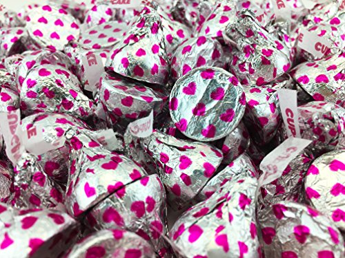 Hershey's Kisses Cupcake White Cookie, Silver Pink Hearts, Bulk Pack ( Pack of 2 Pounds) -