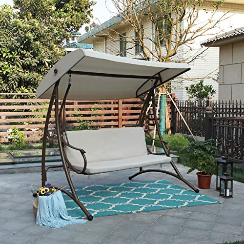 PHI VILLA 750lbs Outdoor Patio Porch Steel Frame 3 Person Swing Chair with Canopy and Cushion Seats
