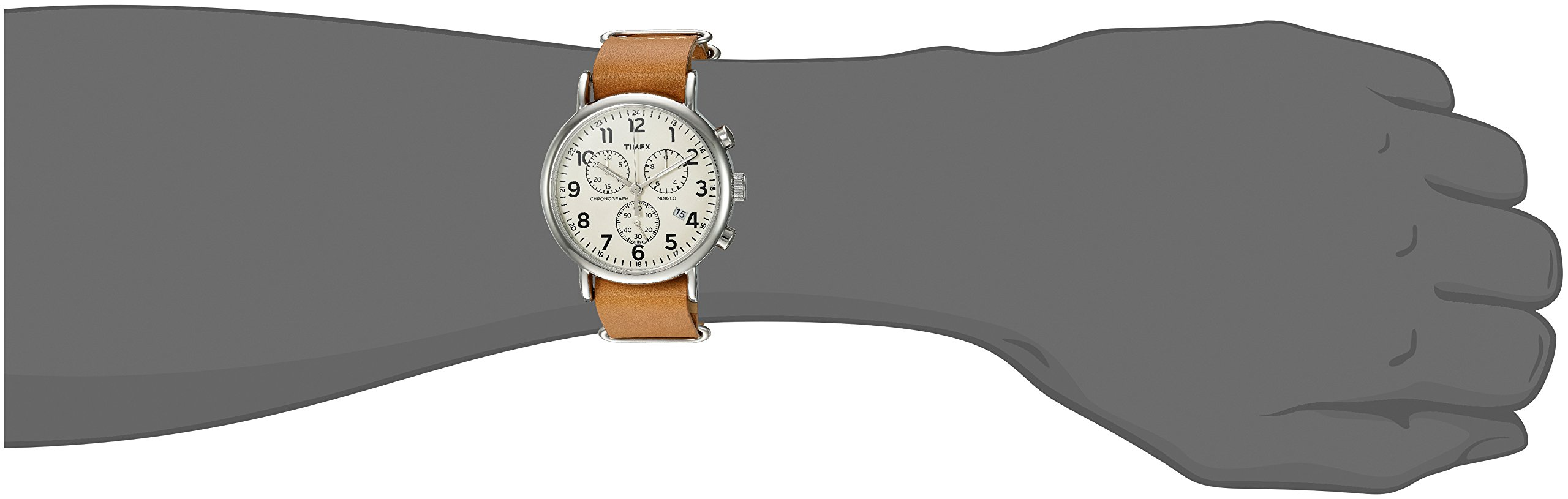 Timex Weekender Chrono Analog-Quartz Watch with Leather Strap, Brown, 20 (Model: TWC063500) by Timex (Image #5)