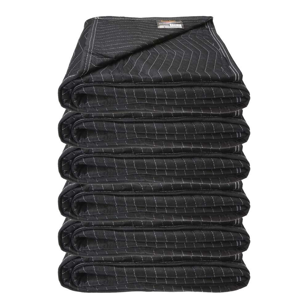 Moving Blanket (6-pack) 72'' x 80'' - Econo Mover (27 lbs/6 blankets, Black/Black)