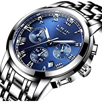 Watch,Mens Watches,Mens Luxury Fashion Stainless Steel Casual Waterproof Chronograph Quartz Wrist Watch