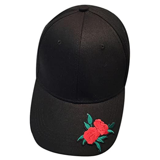 505226ea064 TiTCool Baseball Cap Rose Embroidery 100% Cotton Low Profile Six Panel Cap  Hat (Black
