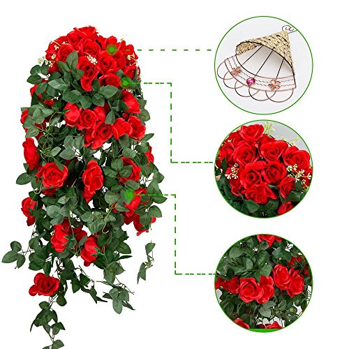 Mixinie Artificial Hanging Flower, Wall-Mounted Hanging Silk Flower Rose Garland Vine For Home Outdoor Decoration (Large Rose)