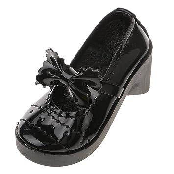 Zapatos de Tacón Fashion Mu?ecas Grueso Lolita Bowknot Redonda con Punta para 1/3 BJD - Rosado QxQHanp6