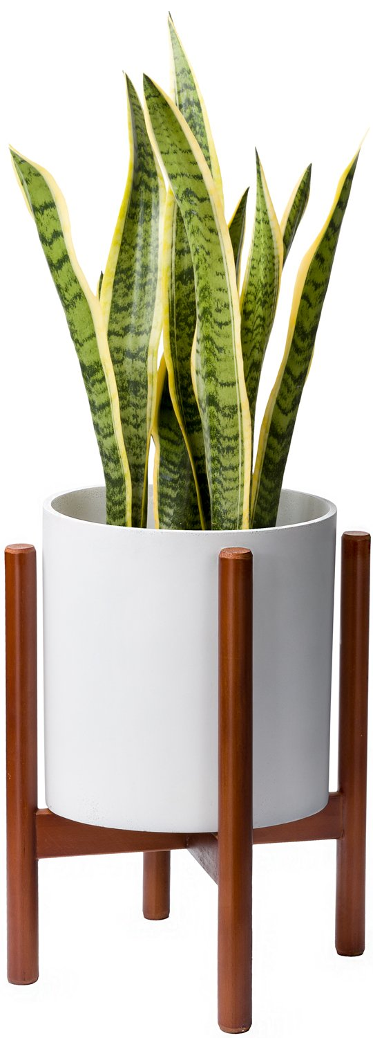Mkono Plant Stand Mid Century Wood Flower Pot Holder Display Potted Rack Rustic, up to 10 inch Planter (Planter Not Included) by Mkono