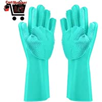 Cartshopper Silicone Glove Resuable Household Scrubber Scald Dishwashing Gloves 2pcs/Pair Magic Washing Brush Kitchen Bed Bathroom Cleaning Tools