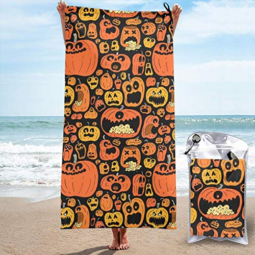 Funny Halloween Calabazas Yoga Towels Quick Dry Bath Sheets Microfibre Towel Swimming Sand Free Beach Towels for Women 27.5