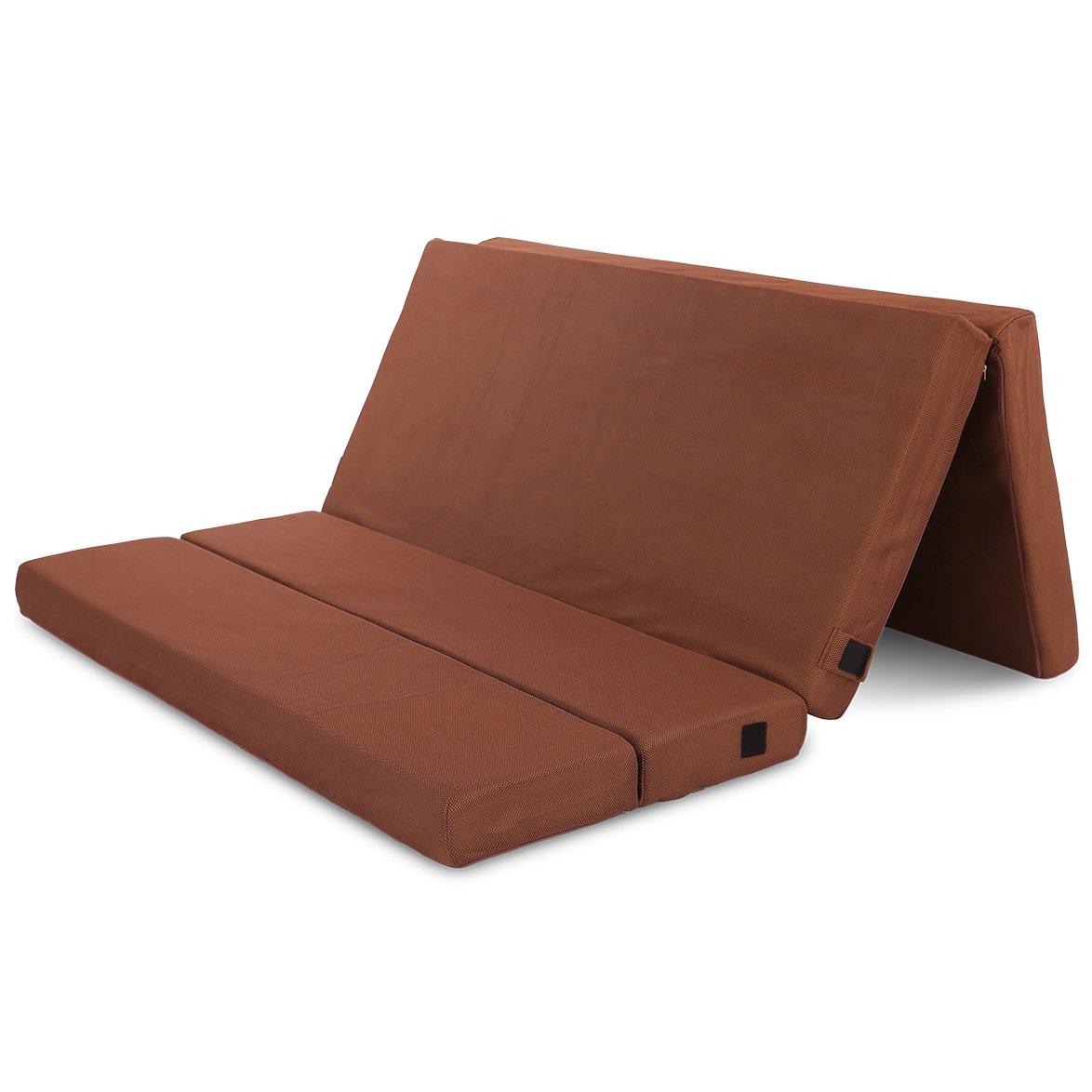 Cr Sleep 4-inch Folding Memory Foam Mattress Full Size, Ventilated Mesh Cover, 54 x 74 inches