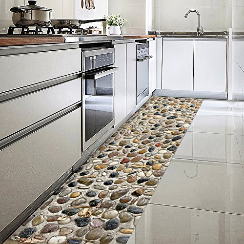 ChasBete Anti-Slip Mat Sticker Waterproof Removable Floor Stickers Thin PVC Floor Decor Decal for Kitchen Bath Shower Door Mat, 12'' x 142'' 3D Stone
