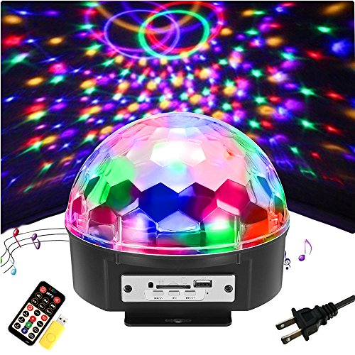 SOLMORE 9 Color LED Disco Ball Party Lights Strobe Light 18W Sound Activated DJ Lights Stage Lights for Club Party Gift Kids Birthday Wedding Decorations Home Karaoke Dance Light (with Remote) -