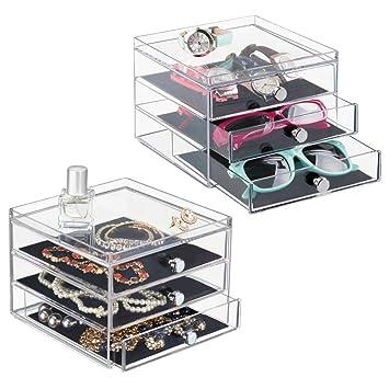 7581d93adc mDesign - Caja organizadora de bijouterie; Guarda Anillos, Aros, Pulseras,  Collares,