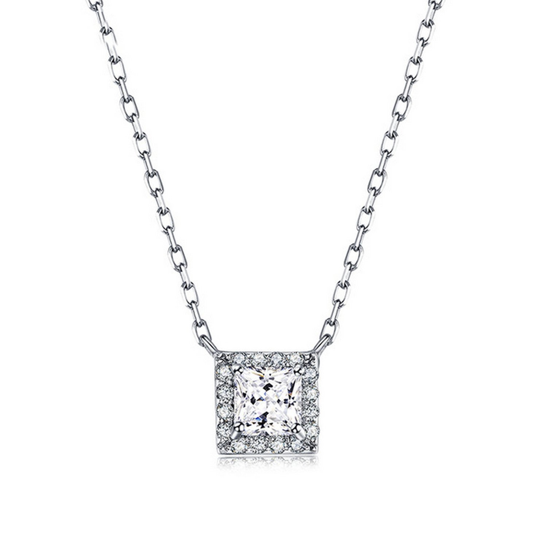 CS-DB Jewelry Silver Neck Square Stone Chain Charm Pendants Necklaces