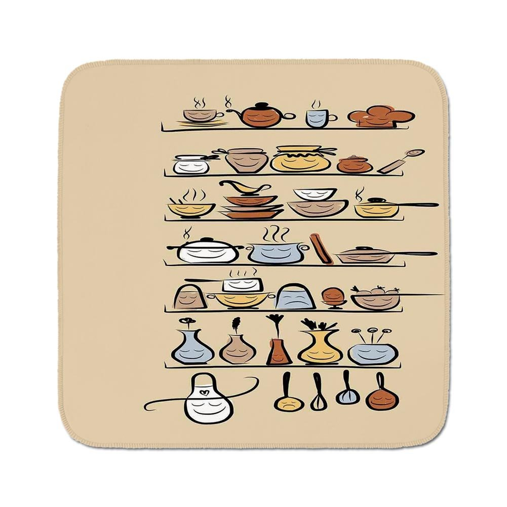 Cozy Seat Protector Pads Cushion Area Rug,Kitchen Decor,Kitchenware and Utensils Appliances Ornaments Spice Rack Vintage Retro Style Design,Brown Cream,Easy to Use on Any Surface