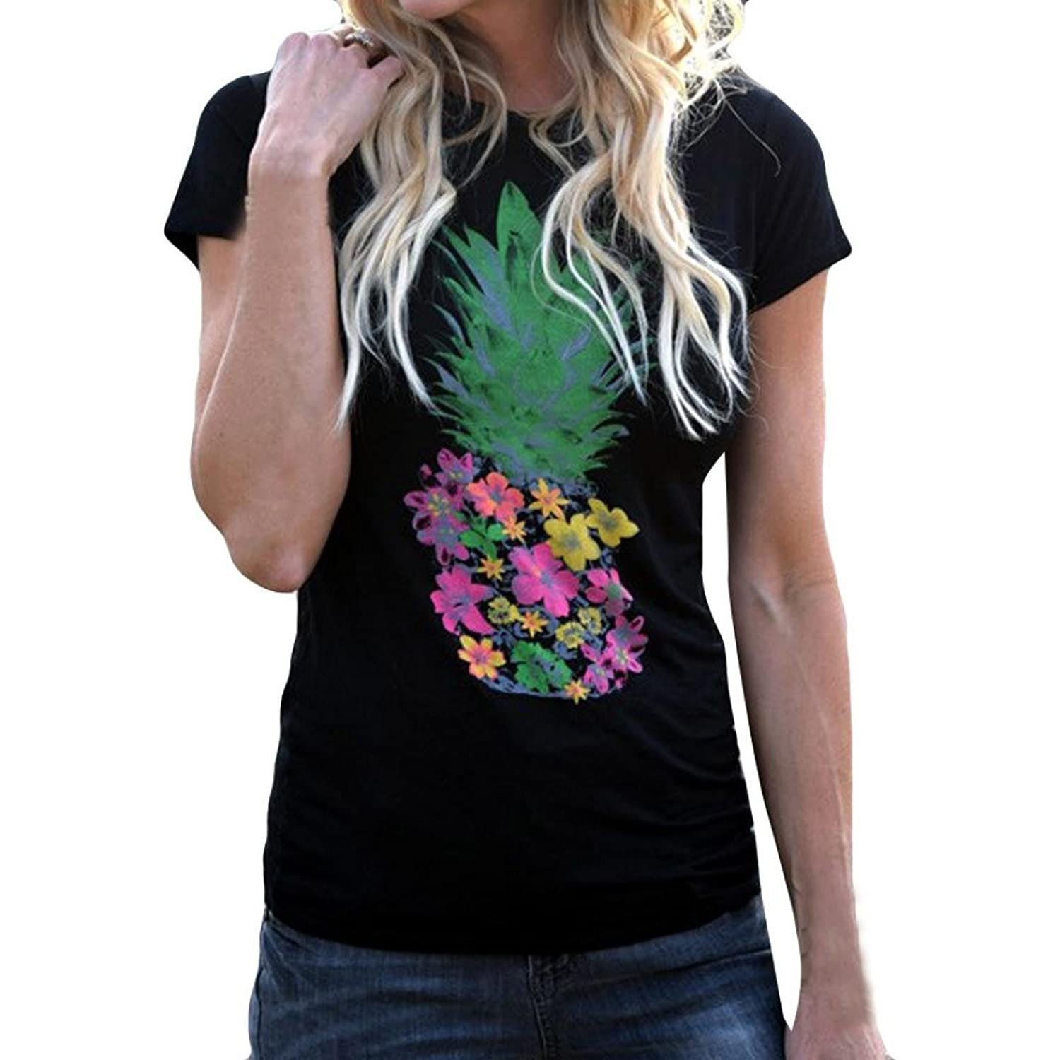 Amazon.com: DondPO Fashion Cute O-Neck Fashion Pineapple Cactus Printing Top Short Sleeve Summer T-Shirts Casual Loose Blouse Girl Tops Tee: Clothing