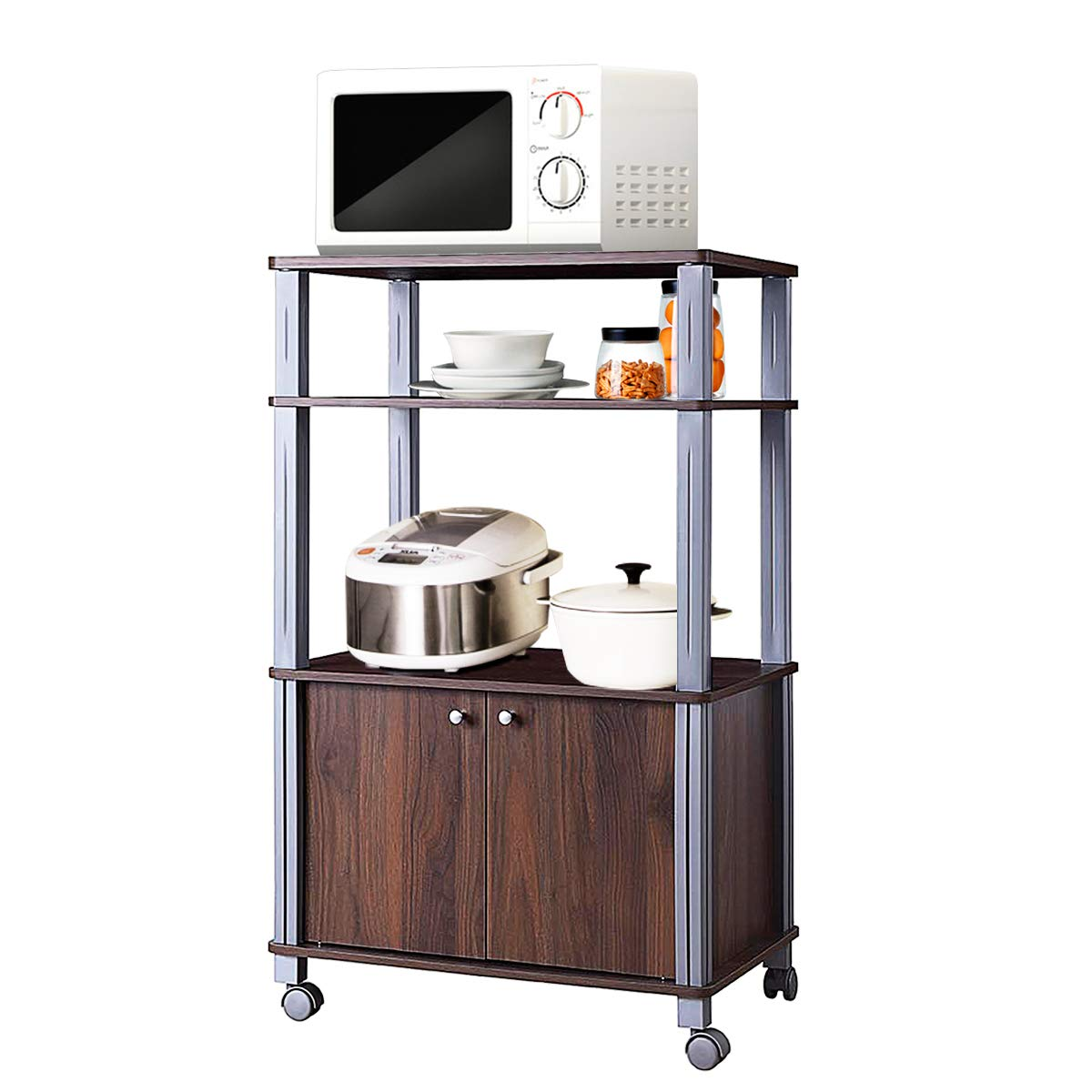 Giantex Rolling Kitchen Baker's Rack Microwave Oven Stand Utility Shelf on Wheels Storage Cart Spice Workstation Organizer with 2-Tier Shelf and Cabinet, Kitchen or Dining Room Furnitu (Walnut)