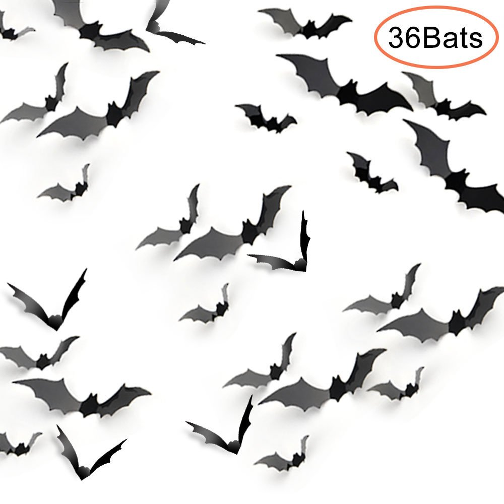 KUUQA Halloween Party Decoration Decal Wall Sticker DIY PVC 3D Decorative Bats 36 Pieces KQ310