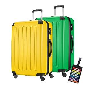 HAUPTSTADTKOFFER® · MACH ES BUNT · 2er Hartschalen Kofferset · 128 Liter (ca. 75 x 47 x 35 cm) · SPREE 1203 + DESIGN KOFFERANHÄNGER (Gelb-Apfelgrün)