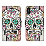 Wallet Case for iPhone Xs Max Flower Skull Custom